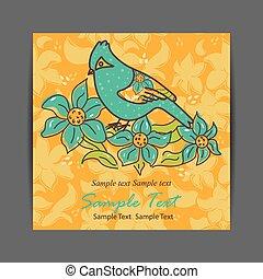 pájaro, con, flores, para, su, diseño