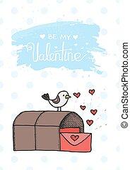pájaro, correo, caricatura, lindo, ilustración, en, vector