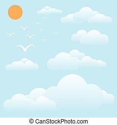 pájaro, en, cielo, sol, y, nube