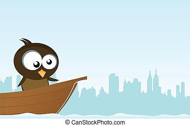 pájaro, en un bote