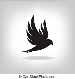 pájaro, ensanchado, negro, aislado, alas