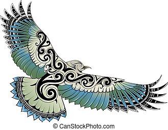 pájaro, estilo, tatuaje, polynesian