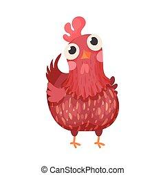 pájaro, gallina, granja, vector, ilustración, aislado, emplumado, fondo blanco