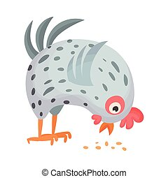 pájaro, gallina, granja, vector, ilustración, emplumado, grano, picotear