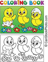 pájaro, imagen, libro colorear, 6