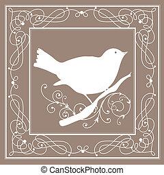 pájaro, marco, vendimia