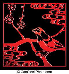 pájaro, papercut