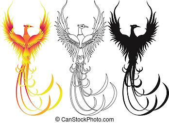 pájaro, phoenix, colección