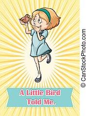 pájaro, refrán, someting, a, un, niña