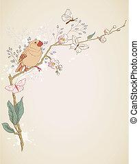 pájaro, sentado, en un rama