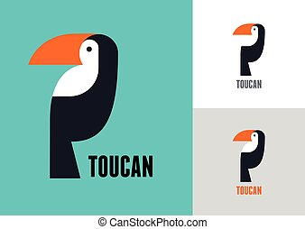 pájaro tropical, vector, tucán