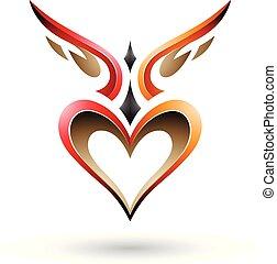 pájaro, vector, corazón, como, rojo, sombra, naranja, alado...