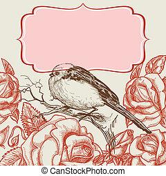 pájaro, y, rosas, invitación, plantilla, con, marco, para, texto