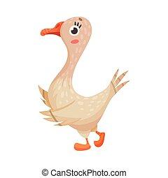 pájaro, yarda, granja, vector, ilustración, ambulante, ganso, emplumado
