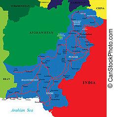 pákistán, mapa