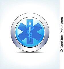pálido azul, botão, sinal médico, caduceus, cuidados de...