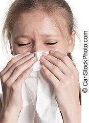 pálido, mulher, espirrando