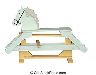 pálido, verde, caballo de balancín