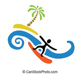pálma, sziget, vektor, ábra, hullámlovas