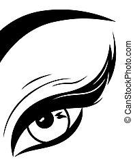 pálpebra, close-up, olho, macio