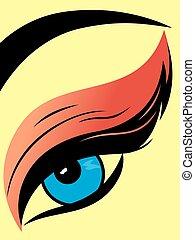 pálpebra, colorido, close-up, olho, macio
