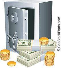 páncélszekrény, pénz.