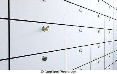 páncélszekrény, part, kulcs