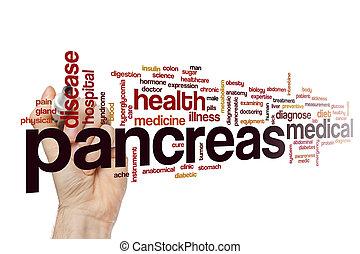 páncreas, palabra, nube, concepto