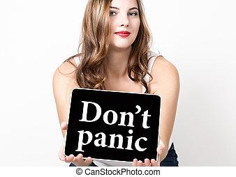 , pánik, írott, képben látható, tényleges, screen., technológia, internet, és, networking, concept., gyönyörű woman, noha, üres váll, birtok, számítógép, tabletta