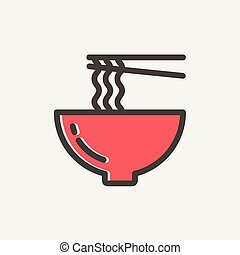 pár, kínai evőpálcikák, ikon, metélt tészta, egyenes, híg, ...