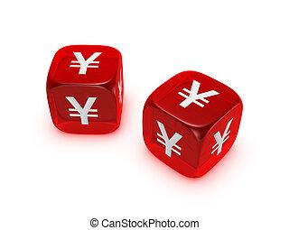 pár, közül, áttetsző, piros, dobókocka, noha, yen cégtábla