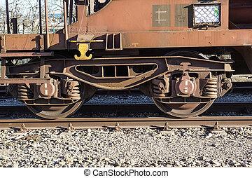 pár, közelkép, rails., tehervagon, .wheel, korlát