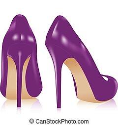 pár, magas, cipők, megsarkal
