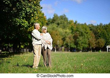 pár, napnyugta, idősebb ember, liget, portré