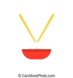pár, rizs, tál, kínai evőpálcikák, ikon