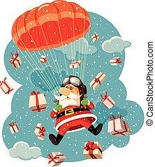 pára-quedas, claus, cercado, voando, ilustração, presentes, vetorial, santa
