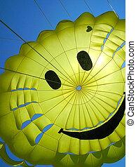 pára-quedas, pessoa, sorrindo, divertimento, amarela