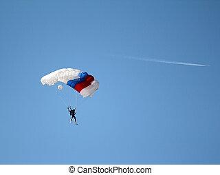 pára-quedista, e, avião, ligado, céu azul