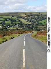 páramo, england., camino, widdecombe, país, dartmoor