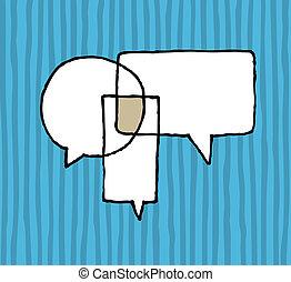 párbeszéd, egyezmény, /, tárgyalás, beszéd, léggömb