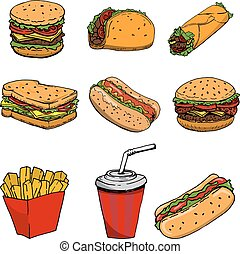 párek, hamburger, taco, sendvič, burrito, .set, o, hustě food, ikona