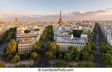 párizs, bástya, eiffel, felülnézet