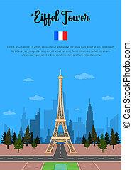 párizs, bástya, eiffel, franciaország