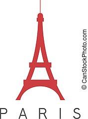 párizs, eiffel, franciaország, vektor, tervezés, sablon, bástya