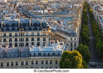 párizs, -, háztetők, felülnézet