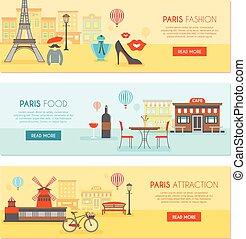 párizs, horizontális, állhatatos, szalagcímek