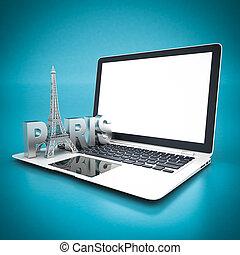 párizs, jelkép, eiffel, -, franciaország, bástya