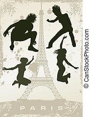 párizs, levelezőlap, grunge