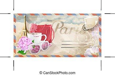 párizs, levelezőlap, vektor