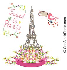 párizs, menstruáció, utazás, csinos, madár, poszter